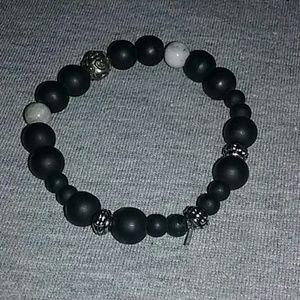 Black and silver women's bracelet